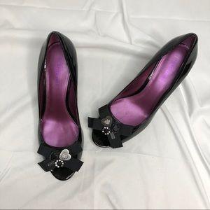 Coach Poppy Black Patent Leather Peep Toe Wedges